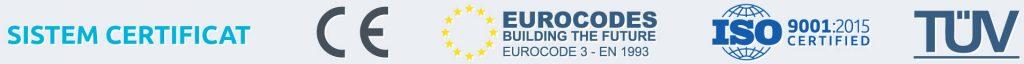 sistem certificat CE, Eurocode 3, ISO 9001/2015, TÜV