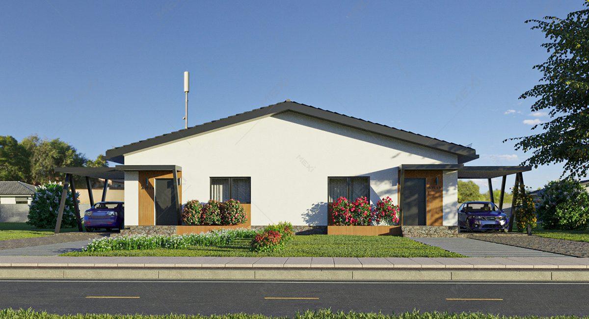 proiect de casa duplex modulara