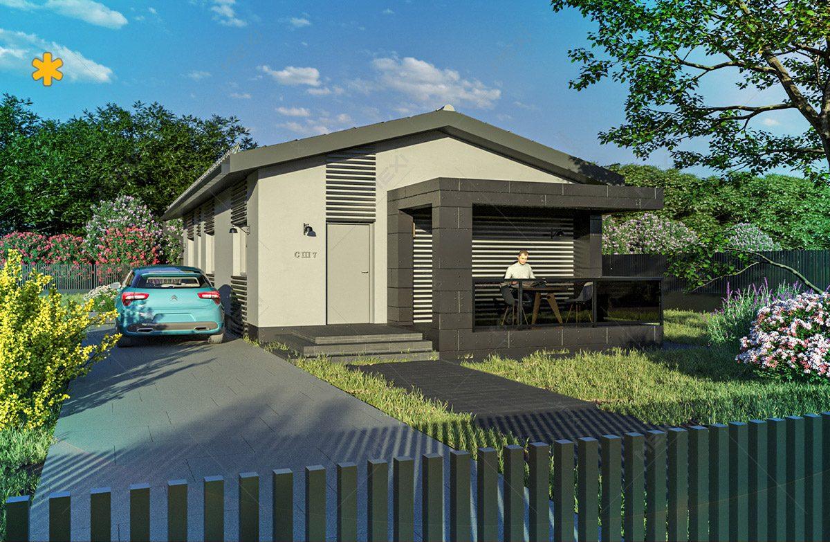 poriect 3d pentru casa in sistem de construire modulara