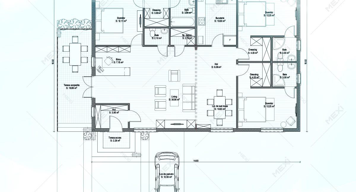 plan casa pe sistem modular