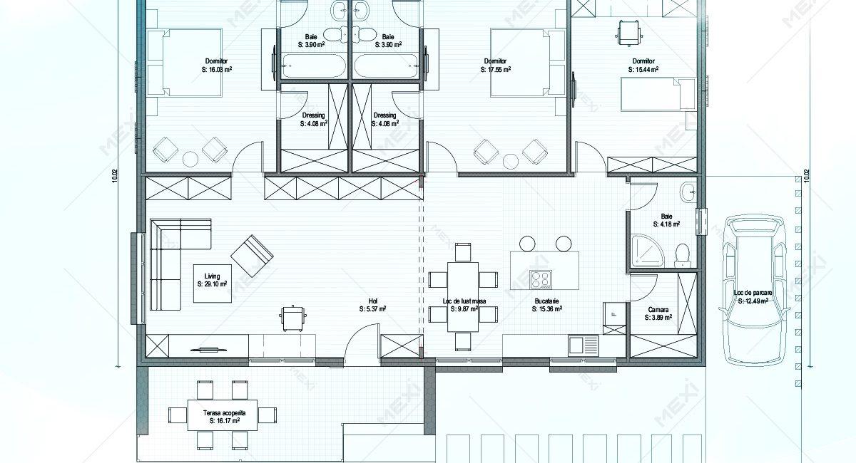 plan casa din modulara din module prefabricate tipizate